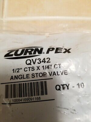 """Zurn QV342 QickTite Assembled Angle Stop Valve, 1/2"""" CTS x 1/4"""" CTS (Pack of 10)"""