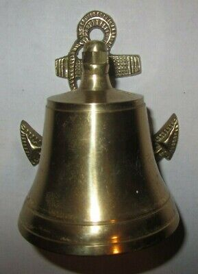 Vintage Solid Brass Bell with Nautical Ship Anchor Wall Mount