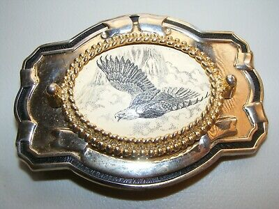 Vintage Brass Belt Buckle Good Condition Bald Eagle