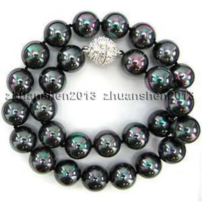 """10mm South Sea Rainbow Black Shell Pearl Gemstones Round Beads Necklace 18"""" AAA"""