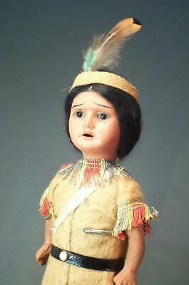 Antique Bisque German Scowling Indian Doll w Original Clothes A Museum Display