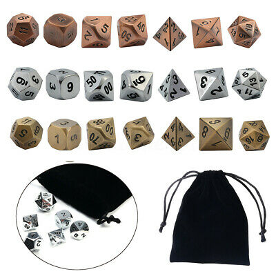 7Pcs Set Antique Metal Polyhedral Dice w Bag DND RPG MTG Role Playing Board