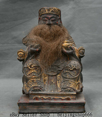 """8"""" Old Chinese Wood Lacquerware Painting Carved Mammon Money Wealth God Statue"""