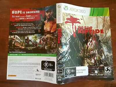 DEAD ISLAND RIPTIDE Face Cover Case Slip Insert only Replacement for Xbox 360