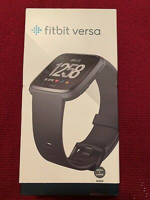 Fitbit Versa Smartwatch BLACK ALUMINUM (S & L Bands Incl.) NEW SEALED FB504GMBK