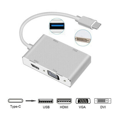 USB 3.1 USB C Type C to HDMI VGA DVI USB 3.0 Adapter Cable for Laptop MacBook