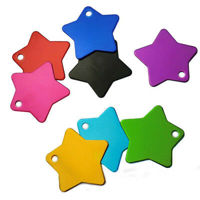QA_ LK_ 10Pcs Colorful Pentagram Star Aluminum Metallic Tag Dog Cat Pet DIY Gi