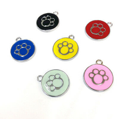 QA_ UK_ LK_ Dog Cat Name Phone Number Collar Enamel Paw Print Round Pendant Pe