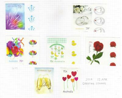 Australia 2014 Greetings Mh Set Of 7 Self Adhesive