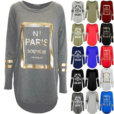 New Women Ladies Raglan Sleeve NI Paris Boutique Gold Foil Hi Lo Dipped Hem Top