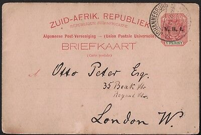South Africa 1901 Upu Post Card From Johannesburg To London Uk