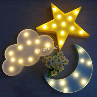 1 Set 3D LED Star Moon Cloud Night Light Nursery Baby Bedroom Table Lamp Decors