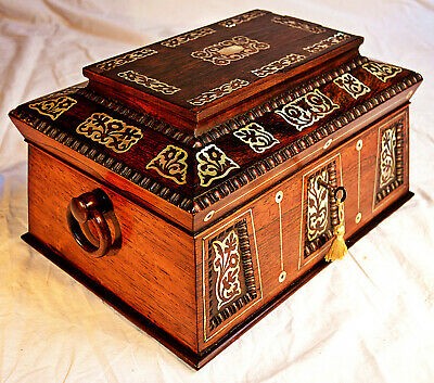 Victorian Sarcophagus shaped, Mother of Pearl inlaid Sewing Box with working Key