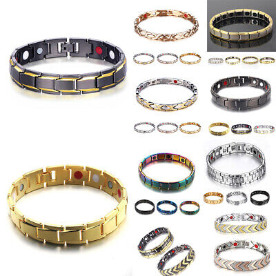 Men Strong Magnetic Healing Therapy Metal Bracelet Arthritis Health Pain Relief