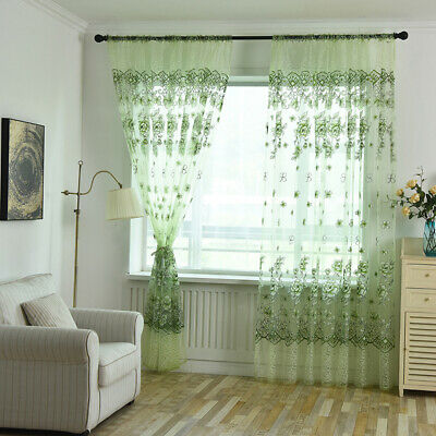 Clear Soft Floral Flower Sheer Window Screen Curtain Home Decorative 8C