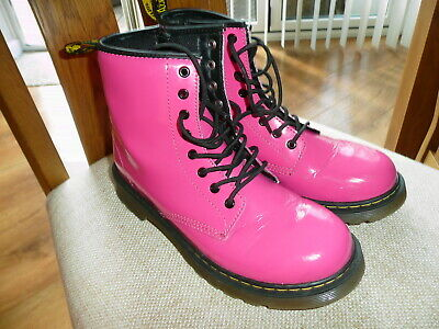 Girls Dr Martens Air Wair Hot Pink Patent Leather Boots Sz Uk 3 Must See