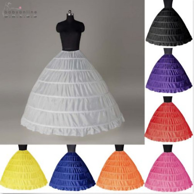 6 Hoop Wedding Petticoat Crinoline Underskirt Bridal Gown Slips Skirt Prom Dress