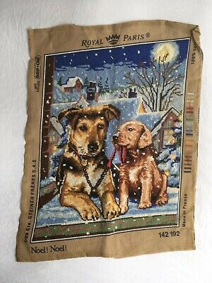 Vintage RETRO Royal Paris  Dogs Tapestry Needlepoint Completed Cushion? Noel