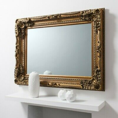 Louis Large Ornate Carved French Frame Wall  Mirror Gold - 120 X 90CMS