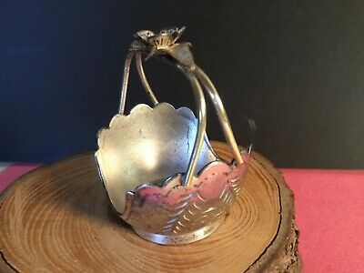 Antique Pairpoint Napkin Ring Figural Flower Basket Silver Plate