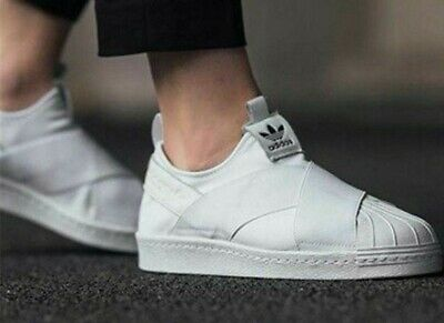 official photos bd738 42dd2 Adidas Women s Originals Superstar Slip On Shoes White S81338 No Lace