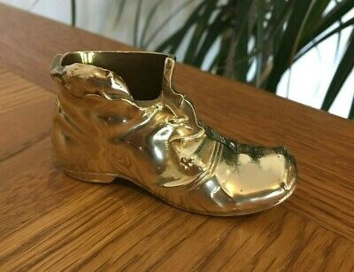 VGC! Vintage Quality Old Small Solid Brass Metal Boot Shoe & Mouse Match Holder.