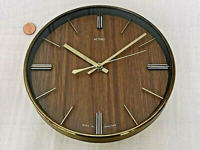 60s/70s METAMEC MODERNIST WALL CLOCK, Vintage WOOD & BRASS, Retro HALLWAY QUARTZ