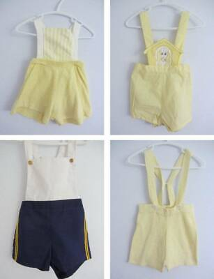vintage boys dungaree summer shorts cotton towelling boys 6 months to age 2