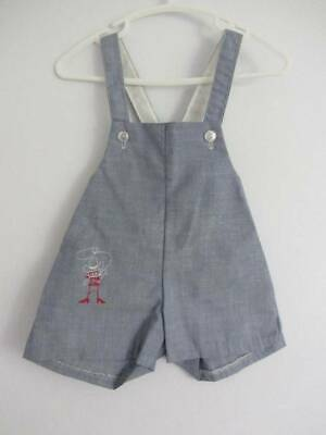 50's vintage boys dungaree summer shorts blue cowboy embroidery age 1 large doll