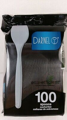 """Black Spoons 5.5"""" Plastic Disposable Nested Eco-Efficient Darnel Sealed 100ct"""