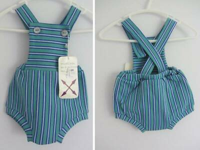 60's vintage boys dungaree shorts romper age 0- months stripes large doll NWT's