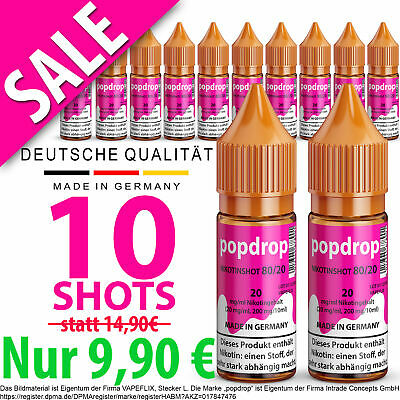 10x Nikotin Shot 20mg ⭐ 10er Pack Nikotinshots ⭐ Nikotin Shots für Liquid & Base