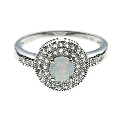 Round White Fire Opal Ring Solid 925 Sterling Silver   Rhodium Plated