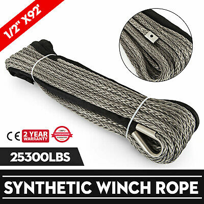 92ft*1/2 Dyneema Rope Winch cable UHMWPE High Strength Heavy Loading