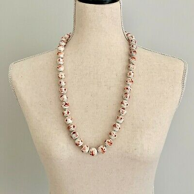 Vintage Chinese Export White Red Round Porcelain Bead Hand Knotted Necklace
