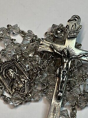 "† Sweet Vintage ""Scapular"" Center Sterling Delicate Rosary Necklace 23"" 20 Grs †"