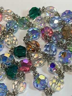 † Old Stock Vintage Multi Colored Double Ring Capped Glass Rosary W/ Tag †