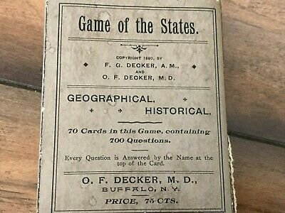 """Vintage """"Game Of The States"""" •Complete •Geographical & Historical•1890 •Decker's"""