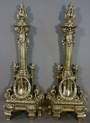 (2) Antique 19thC FRENCH BRASS Old COLUMN Jewel VICTORIAN Fireplace ANDIRONS