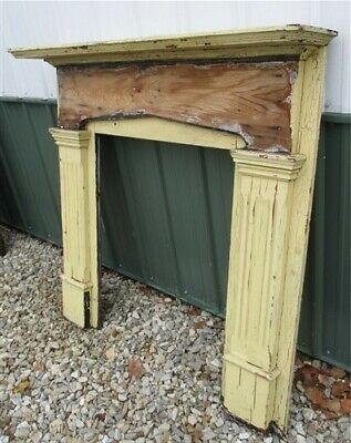 Wood Fireplace Mantel, Architectural Salvage Victorian Rustic Surround Vintage L