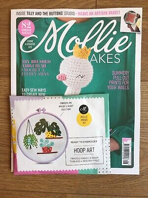 Mollie Makes Magazine Issue 106 With Free Gift Embroidery Appliqué Hoop Art Kit