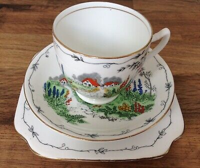 Pretty Vintage 'English' Tea Cup Saucer & Plate Bone China Art Deco Hand Painted