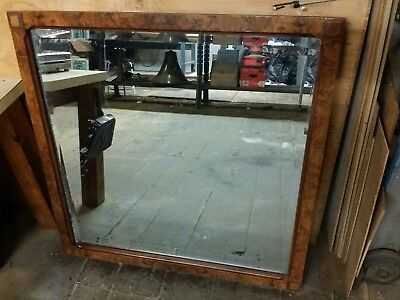 "Antique Arts & Crafts Mirror, French or English Flame Walnut Wood, 37.5"" Square"