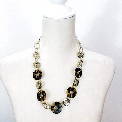 Faux Tortoise Shell Gold Tone Fashion Link Chain Necklace