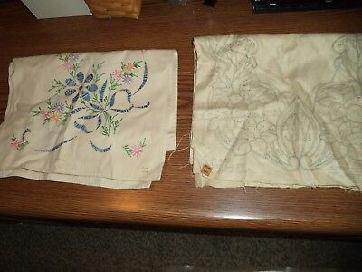 2 Vintage Hand Embroidered Table Runners, One Done One Needlework Started