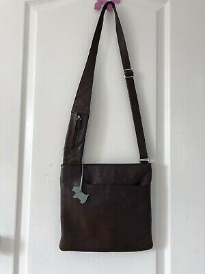 Radley Brown Soft Leather Messenger cross Body shoulder bag With Dog Tag