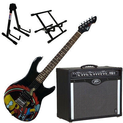 Peavey Bandit 112 Amp and Bart Simpson Guitar with Amp and Guitar Stands