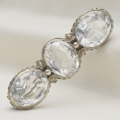 Antique Victorian Sterling Silver Rock Crystal Brooch Pin