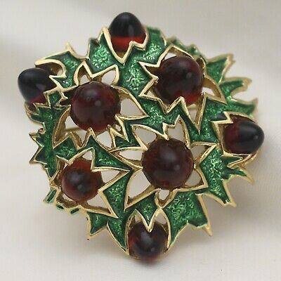 Vtg Signed Boucher Gumdrop Red Glass Star Green Enamel Goldtone Brooch Pin