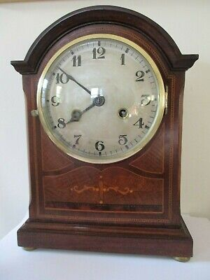 Antique Edwardian Junghans Mahogany Inlaid Striking Mantel Clock Working Order